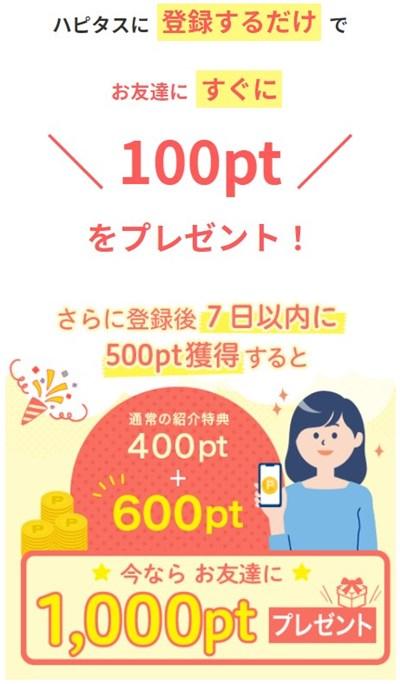 ハピタス登録&利用で最大1,100円分プレゼント