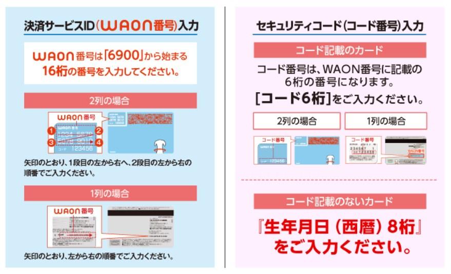 マイナポイント(WAON) 決済サービスID・セキュリティコード