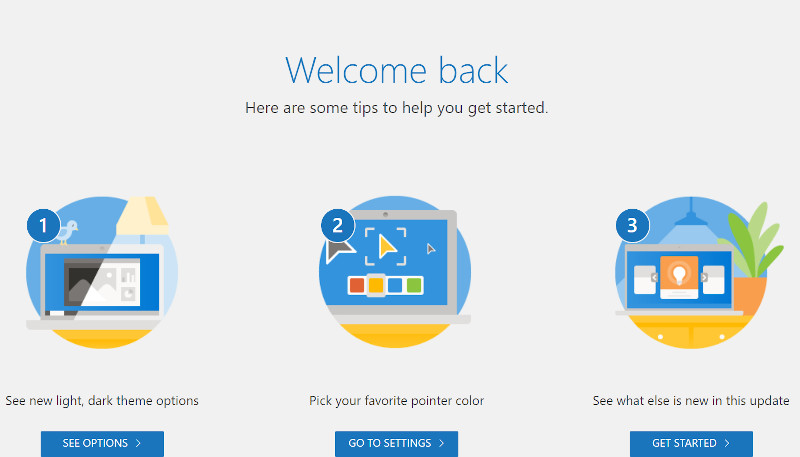 Windows Update後に表示された画面